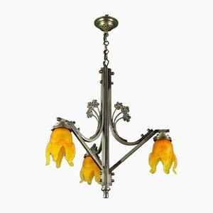 Art Nouveau Brass & Orange Glass Floral Ceiling Lamp from Vianne, 1930s