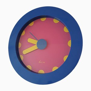 Italian Pink & Blue Wall Clock by Nathalie du Pasquier & George Sowden for NEOS, 1988