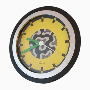 Italian Black Chrome Wall Clock by Nathalie du Pasquier & George Sowden for NEOS, 1988