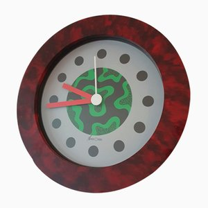 Italian Turtle-Red Wall Clock by Nathalie du Pasquier & George Sowden for NEOS, 1988