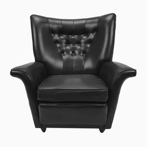 Mid-Century Leatherette Wingback Lounge Chair, 1960s