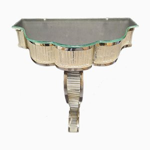 Art Deco Glass & Chromed Metal Console Tables, 1930s, Set of 2