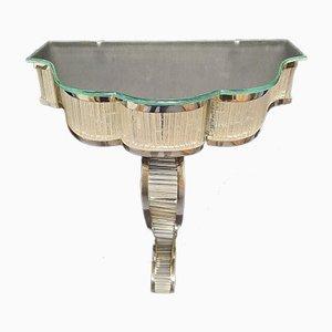 Consolle Art Deco in vetro e metallo cromato, anni '30, set di 2