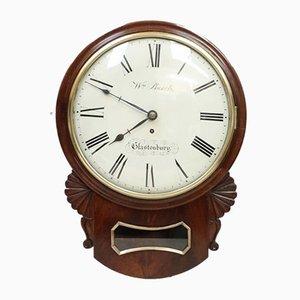 Victorian Mahogany Drop Dial Wall Clock by William Burch, 1840s