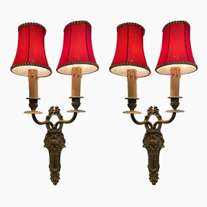 Antique Brass Sconces, Early 1900s, Set of 2