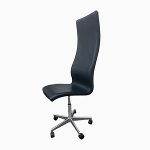 Black Leather High-Backed Oxford Swivel Chair by Arne Jacobsen for Fritz Hansen, 1990s
