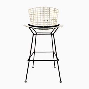 Mid-Century Black & White Wire Barstools by Harry Bertoia for Knoll Inc. / Knoll International, 1960s, Set of 6