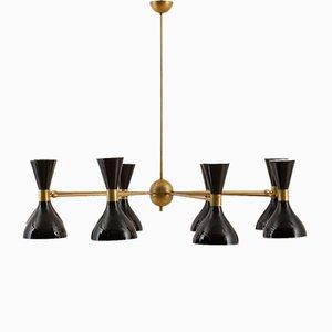 Lámpara de araña italiana vintage con 8 brazos y pantallas diábolo de Stilnovo