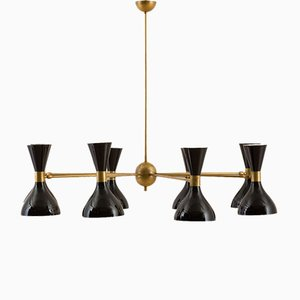Vintage Italian 8-Arm Chandelier with Diabolo Shades in the Style of Stilnovo