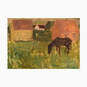 Lili Ege, paisaje modernista, años 50, óleo sobre lienzo