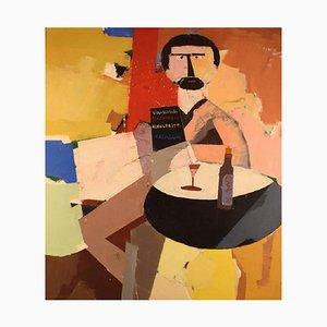 Hans Osswald, Modernist Cafe Interior, Oil on Canvas