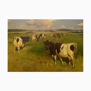 Knud Edsberg, Field Landscape with Cows, Oil on Canvas