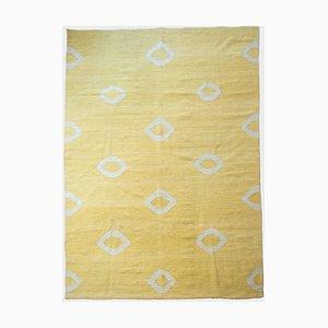 Gelber Vintage Flachgewebter Kilim Teppich