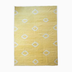 Vintage Yellow Flatweave Kilim Carpet