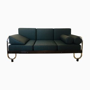 Teal Green Bauhaus Tubular Steel Sofa for Robert Slezak, 1930s