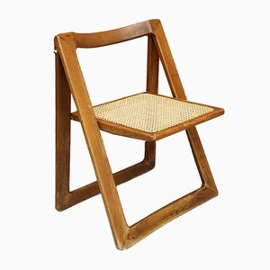 Vintage Italian Caned Maple Folding Chair