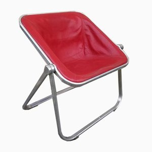 Klappbarer Klappstuhl aus rotem Plona Leder von Giancarlo Piretti für Castelli, 1970er