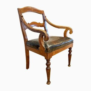 Antique Swedish Fruitwood Leather Elbow Chair