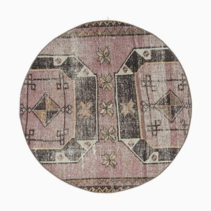 Vintage Turkish Oushak Round Carpet