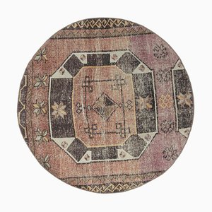 Vintage Turkish Oushak Round Carpet