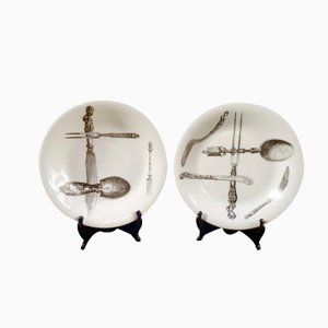 Italian Porcelain Flatware Plates by Piero Fornasetti for Atelier Fornasetti, 1950s, Set of 2