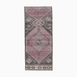 Vintage Turkish Black Handmade Wool Rug