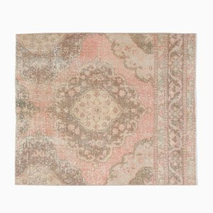 Vintage Turkish Pink Handmade Wool Rug