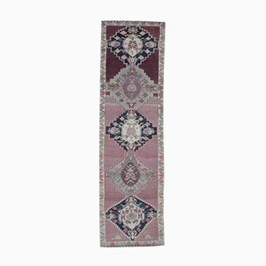 Tappeto Runner vintage in lana viola, annodato a mano, Turchia