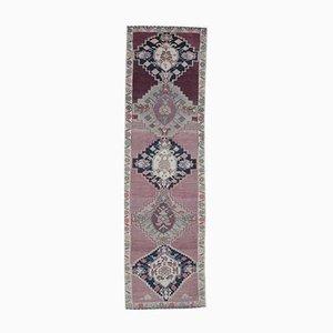 Vintage Hand-Knotted Turkish Purple Wool Runner