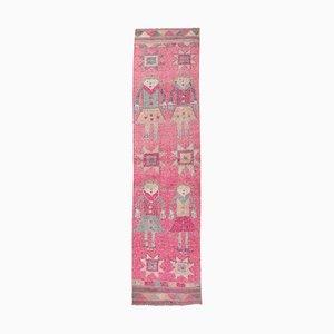 Tappeto vintage fatto a mano rosa, Turchia
