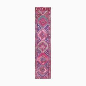 Türkischer Vintage Purple Wool Läufer