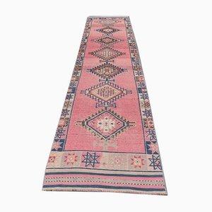 Rosa handgeknüpfter türkischer Vintage Wollteppich