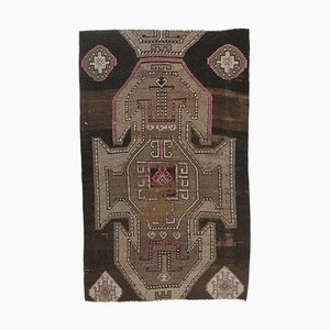 Vintage Turkish Brown Handmade Wool Rug