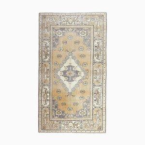 4x8 türkischer Vintage Oushak handgewebter kleiner Teppich aus Wolle