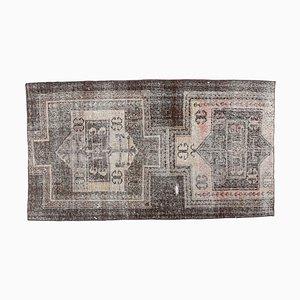 4x7 Vintage Turkish Oushak Handmade Small Wool Rug in Brown