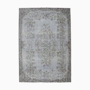 6x8 Türkischer Vintage Oushak Teppich aus Wolle in Grau