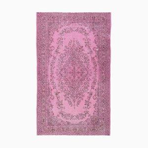 6x9 Vintage Carpet Oushak Handmade Overdyed Hot Pink Wool Rug
