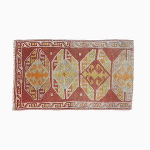 Tappeto Oushak vintage in lana, 2x2 rosso, Turchia