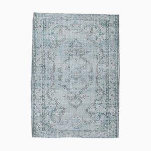 Türkischer Vintage 6x9 Oushak Teppich in Hellblau mit Wollbezug