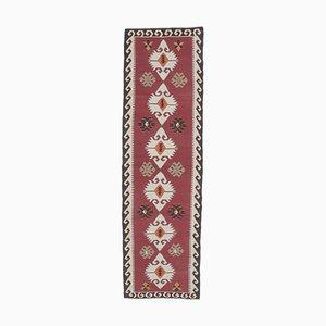 Handgeknüpfter türkischer Vintage Oushak Vintage Oushak Woll Kilim Läufer Teppich