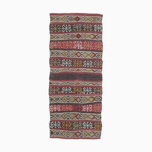 3x7 Türkischer Vintage Oushak Kelim Läufer aus Wolle