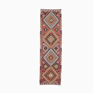 3x10 Türkischer Vintage Oushak Handgeknüpfter Kilim Läufer aus Wolle