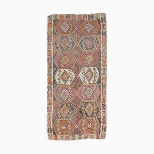 Flacher 5x9 türkischer Vintage Kilim Oushak Teppich aus handgewebter Wolle