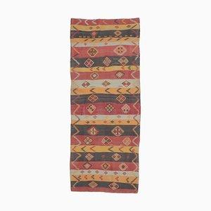 Tappeto Kilim Oushak vintage in lana fatta a mano, 4x9, Turchia