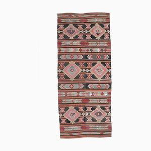 Handgeknüpfter türkischer Vintage 6x13 Kilim Oushak Teppich aus roter Wolle
