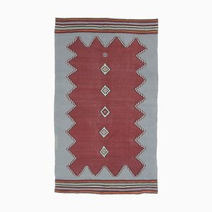 Handgemachter türkischer Vintage 5x8 Kilim Oushak Teppich mit roter Wolle