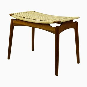 Scandinavian Teak and Cane Stool by Olholm Mobelfabrik, Denmark, 1950s