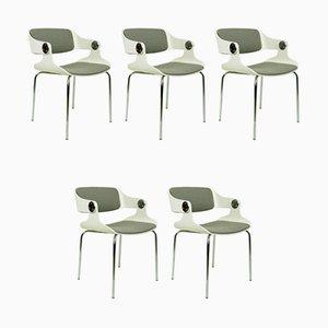 Sedie in compensato bianco e stoffa grigia di Eugene Schmidt, Germania, set di 5