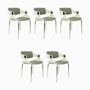 White Plywood and Grey Fabric Chairs by Eugene Schmidt, Germany, Set of 5