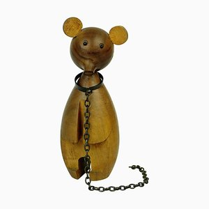 Austrian Mid-Century Walnut Bear on a Chain from Werkstätte Hagenauer
